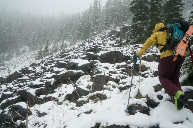 Rain gave way to snow, loam gave way to boulders, and running shoes gave way to ski boots.